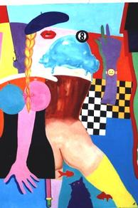 #167 Behind the Eight Ball 36 x 42 Oil