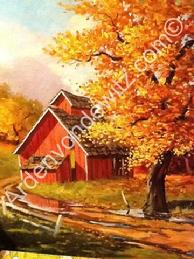Red Barns Art Book Cover Page, Original 16 x 22 Oil Painting, $150,000