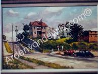 #10 Homes on the Hill above Hope Street 24 x 36 Oil, Painted in 1960 (P)
