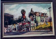 #12 Apartment House and Stores on Temple 24 x 36 Oil, Painted in 1959 (P)