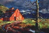#162 California Barn in the Sunset 24x30 Oil